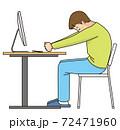 リモートワーク中にストレッチする若い男性 72471960