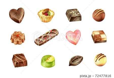 チョコレートのセット 手描き色鉛筆画 72477816