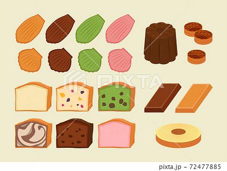色々な焼き菓子のイラストセット 背景あり 72477885