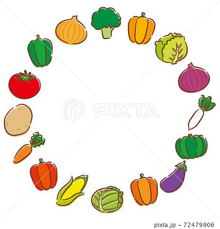 手描き風の丸い野菜フレーム 72479906