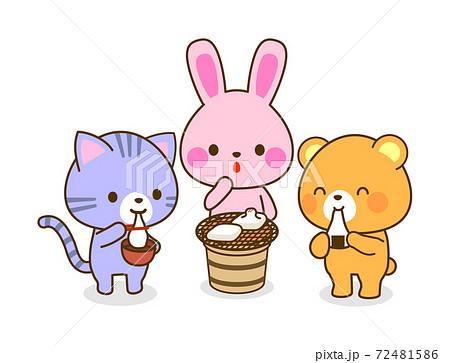 餅を食べる動物のイラスト 子ども向け 72481586
