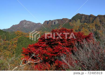ロマンチック茨城(雲一つない空の下、男体山を見晴らす奥久慈パノラマライン。真っ赤に染まっていた。) 72485919