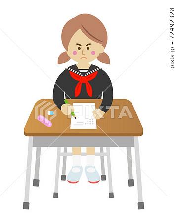 試験を必死に頑張る学生のイラストイメージ 72492328
