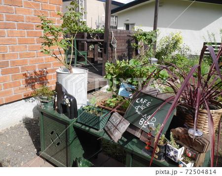 花台に植物や雑貨が飾られたにぎやかな庭 72504814