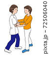 前方からの介助で歩行する女性と、介護者 72506040