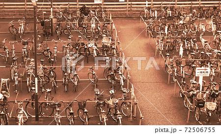 セピア調の世界(埼玉県川口市の風景・川口駅近くの自転車置き場の風景) 72506755