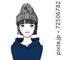 ニット帽とパーカーの女の子 72506782