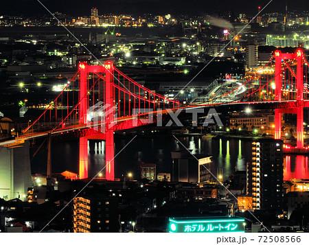 高塔山展望台から見た若戸大橋ライトアップと夜景 72508566