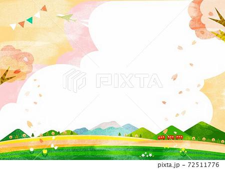 桜色の春のお出かけ背景イラスト 満開の桜とお花畑 72511776