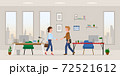 Office cartoon character man and woman hands shaking in modern workplace vector illustration set. Male and female business partners meeting, saying hello in conference room on cityscape silhouette 72521612