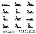 Stick figure female lie down various positions vector illustration icon set. Woman person sleeping, laying, sitting on floor, ground side view silhouette pictogram 72521613