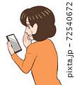 スマホでインターネットをみて不安になる女性のイラスト・アイキャッチサイズ 72540672