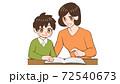 子供と一緒に本を見る、教えるお母さん 72540673