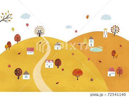 山の秋の村の景色水彩 72541140