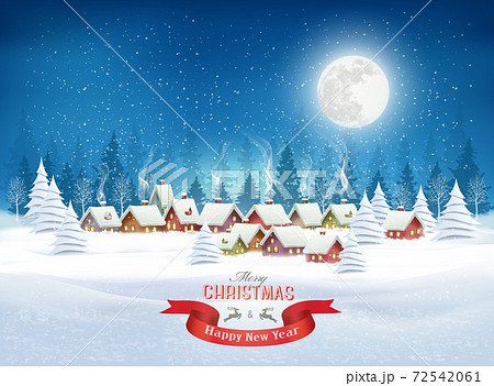 Christmas evening landscape with  winter village and white christmas trees. Vector 72542061
