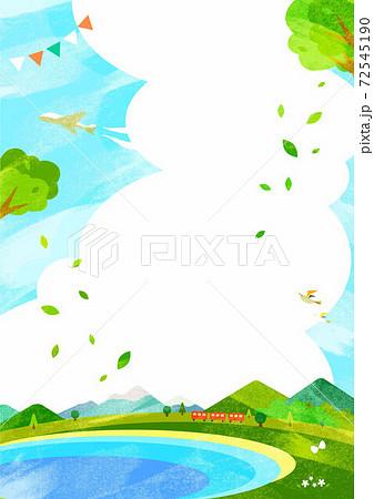 新緑のお出かけ背景イラスト 山脈と海岸線 水彩テクスチャ 72545190