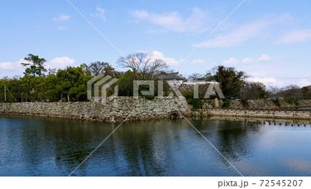 堀の外から見る石垣と建物/岡山城(岡山県) 72545207