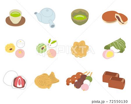和菓子とお茶のイラスト 72550130