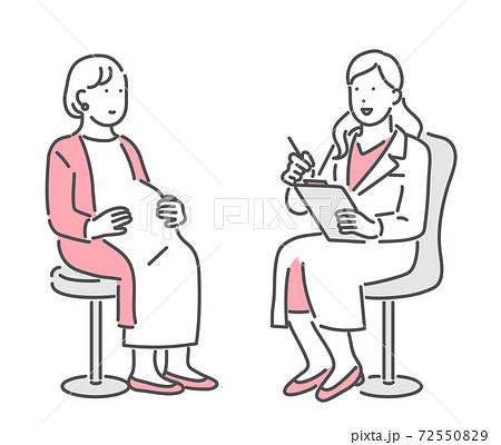 妊婦に説明をする医者のイラスト素材 72550829