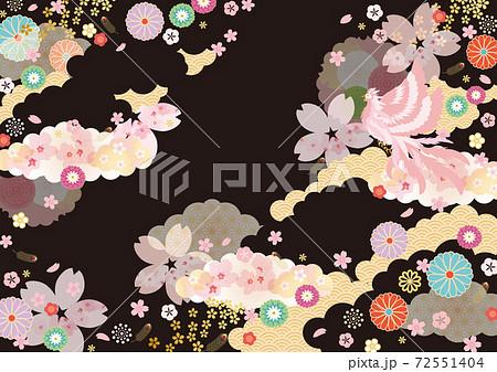 背景素材-和柄桜,鳳凰3 72551404