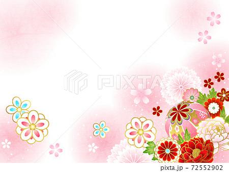 和紙風和花とまりとピンクのほわほわ背景ヨコ 72552902