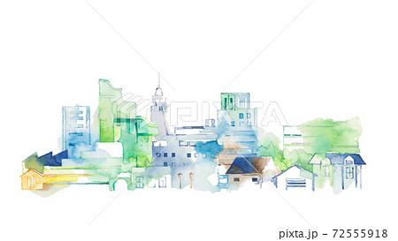 都会の風景、水色と緑の街並 72555918