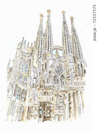 世界遺産の街並み・スペイン・サグラダファミリア 72557575