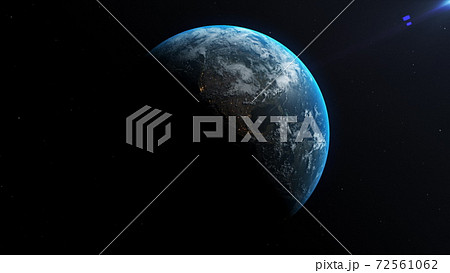 Space view of the sun rising on planet Earth, going from night to day with cloud formations and city lights . 3D animation. 72561062