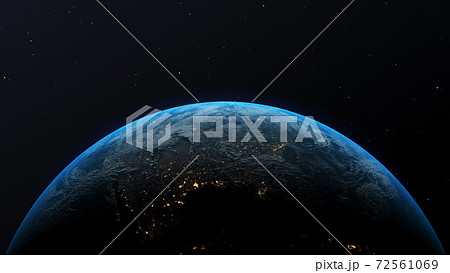 Space view of the Earth. Ultra realistic 3D animation. 72561069