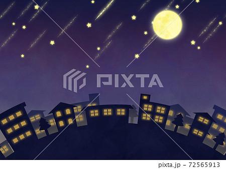満月と流れ星の夜景イメージ 72565913