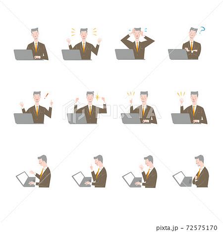 ノートパソコンとスーツの年配の男性セット 72575170