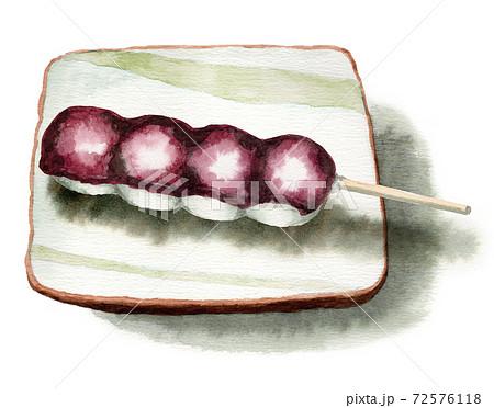 アナログ水彩串団子こしあん和菓子 72576118