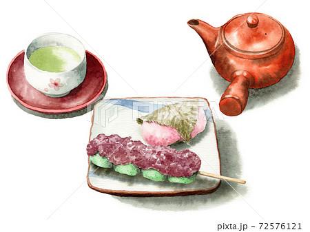 アナログ水彩桜餅道明寺草だんごお茶 72576121