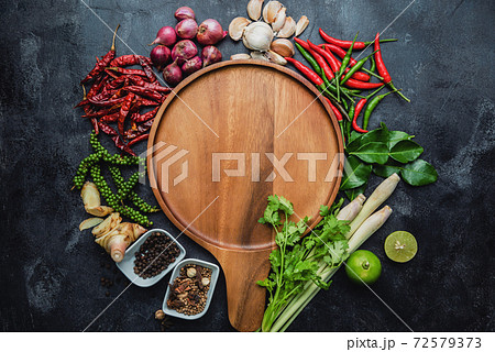 Healthy food clean eating selection. Herbs and spices Various organic vegetables Placed on the table. Raw materials of cooking preparation. 72579373
