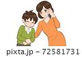 お腹が痛い子供を心配して電話をかけるお母さん 72581731