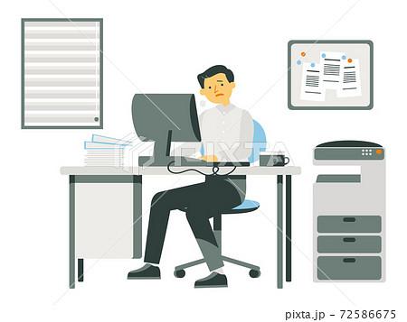 会社で残業をする男性 72586675