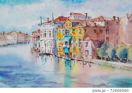 ヨーロッパの街 ヴェネツィア 水彩画 風景画 72606980