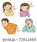 肩こり、頭痛、腰痛、眼精疲労の人々 72611683