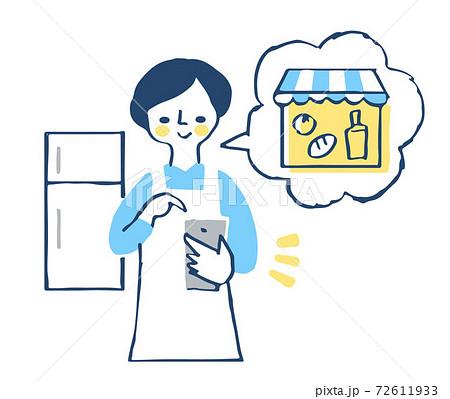 スマートフォンでオンラインショッピングをする主婦 72611933