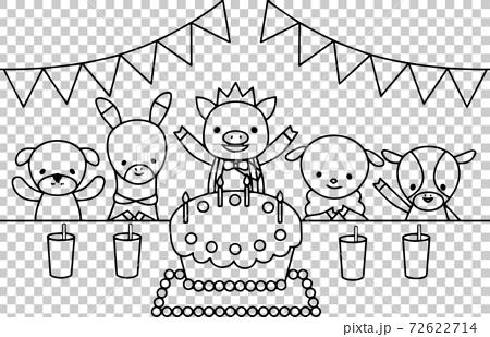 動物在生日聚會上慶祝 72622714