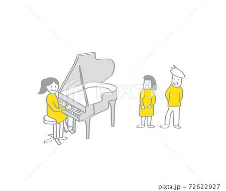 学校生活/シンプルな線画手描きイラスト/レイヤーで服の色変え可能/音楽室の風景 72622927