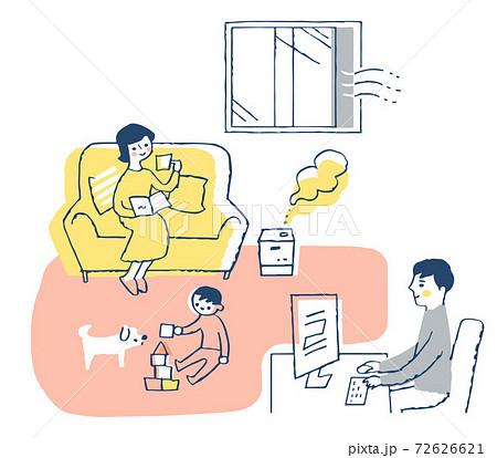 感染症予防対策 室内の換気と加湿  72626621