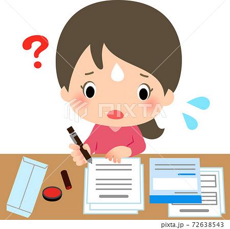 書類の記入に手こずる若い女性 72638543