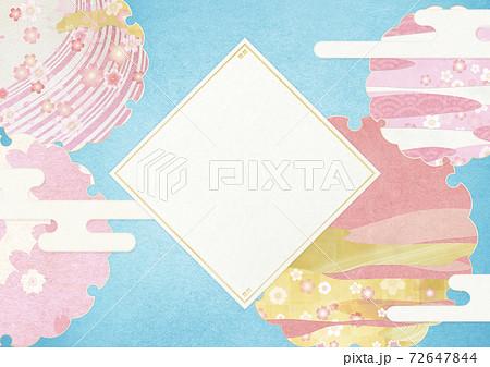 背景素材-ひし形-桜-雪輪-花吹雪-桜吹雪 72647844