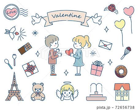 手描き かわいいバレンタイン素材 セット 72656738