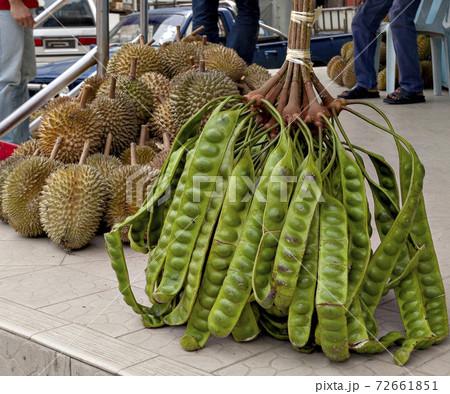 ベトナム、ダラットの市場で販売されていたドリアンとネジレフサマメノキ 72661851