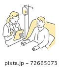患者の容態をチェックする看護師のイラスト素材 72665073