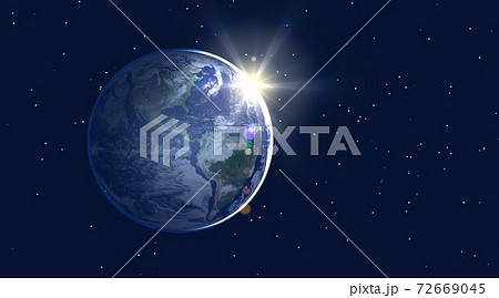 地球 アメリカ大陸 北米 南米 夜明け 日の出 ワイドサイズ(星あり) 72669045