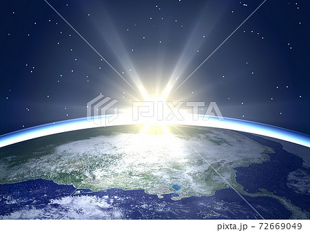 地球 アメリカ カナダ アラスカ メキシコ 北米 夜明け 日の出(星あり) 72669049