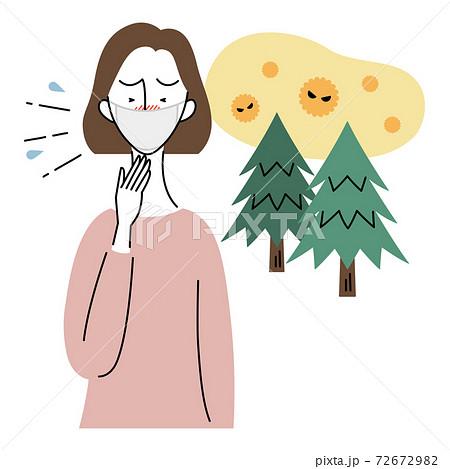 花粉症でくしゃみをする女性(マスク着用) 72672982